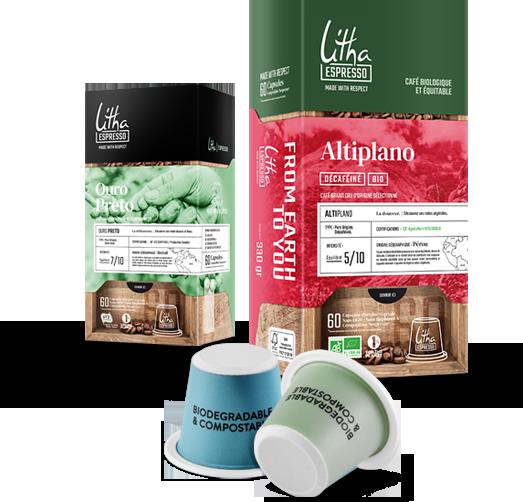 Café en capsules Ouro Preto et Altiplano Litha Espresso à Blois